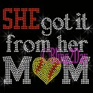 SHE got it from her MoM - SOFTBALL Heart - Iron on Rhinestone Transfer - Sports Mom - DIY