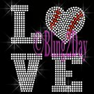 LOVE - BASEBALL Heart - 2 Line Version - Iron on Rhinestone Transfer Bling - DIY