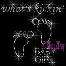 What's Kickin' Baby GIRL - FEET - Iron on Rhinestone Transfer Maternity - DIY