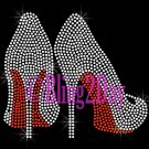 Clear High Heel - Red Bottom Shoe - Iron on Rhinestone Transfer - Hot Fix Bling - DIY