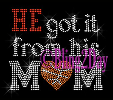 HE got it from his MoM - BASKETBALL Heart - Iron on Rhinestone Transfer - Sports Mom - DIY