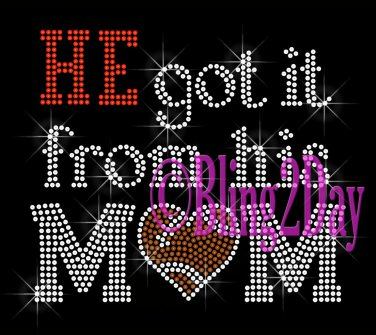 HE got it from his MoM - FOOTBALL Heart - Iron on Rhinestone Transfer - Sports Mom - DIY