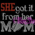 SHE got it from her MoM - CHEER Heart - Iron on Rhinestone Transfer - Sports Mom - DIY