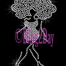 Afro Lady Standing Figure - CLEAR - Rhinestone Iron on Transfer Hot Fix - DIY