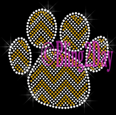 Huge Chevron GOLD Paw- Rhinestone Iron on Transfer Hot Fix Bling - DIY