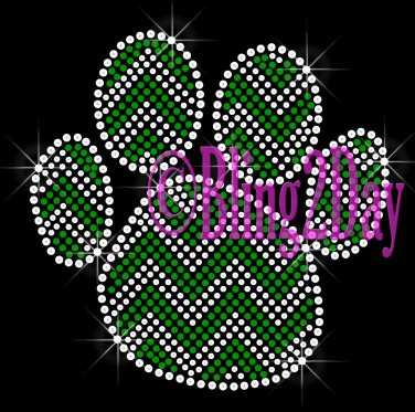 Huge Chevron GREEN Paw- Rhinestone Iron on Transfer Hot Fix Bling - DIY