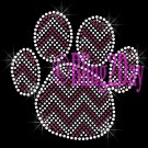 Huge Chevron PURPLE Paw- Rhinestone Iron on Transfer Hot Fix Bling - DIY