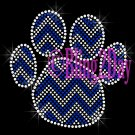 Huge Chevron ROYAL BLUE Paw- Rhinestone Iron on Transfer Hot Fix Bling - DIY