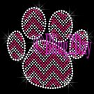 Huge Chevron FUCHSIA Paw- Rhinestone Iron on Transfer Hot Fix Bling - DIY