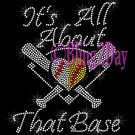 Split Sports Heart - It's All About That Base - Rhinestone Iron on Transfer Softball Baseball - DIY