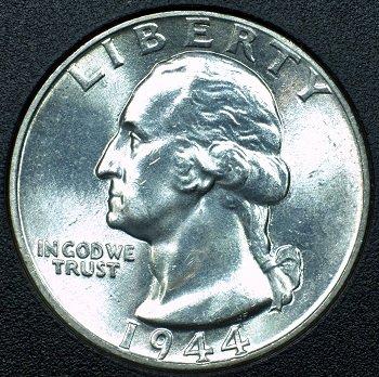 1944 Silver Washington Quarter