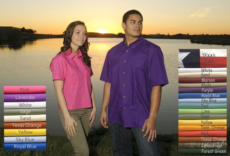 Mens Fishing Shirt Short Sleeve (Burnt Orange)(size -Large)