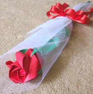 Origami Paper Rose Bud Red Craft Gift