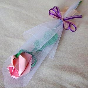 Origami Paper Rose Bud Pink Craft Gift