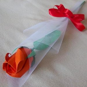 Origami Rose Bud Orange Gift Craft