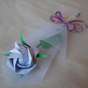 Origami Rose Paper Craft Gift Lavender