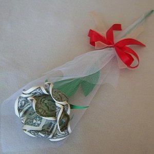 Money Origami Long Stem Rose Craft Gift U.S. Dollar Bill