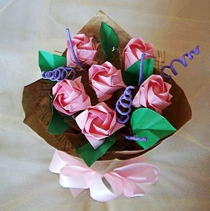 Handmade Origami Rose Bouquet 6 Pink Rose Gift Flower Crafts