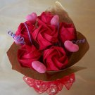 Handmade Origami Rose with Pink heart  Bouquet 6 Red Rose Red Gift Flower Crafts