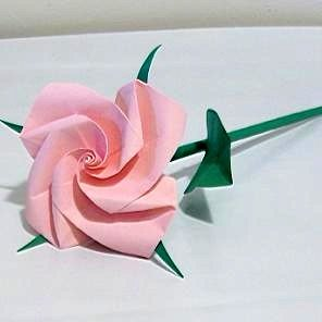 Handmade Origami Rose Pink Paper Folded Flower Craft Gift