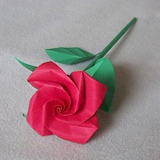 Handmade Origami Rose Red Paper Folded Flower Craft Gift