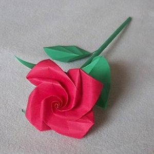 Handmade Origami Rose Red Paper Folded Flower Craft Gift