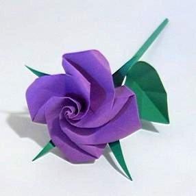 Handmade Origami Rose Purple Paper Fold Craft Gift