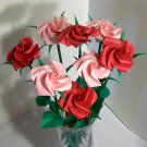 Origami Rose Long Stem Paper Fold Craft  Handmade Anniversary Birthday Gift Home Decor Party Favor