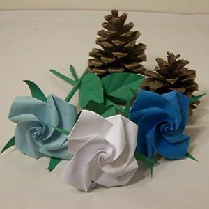 Handmade Origami Rose Orange Paper Folded Craft Gift