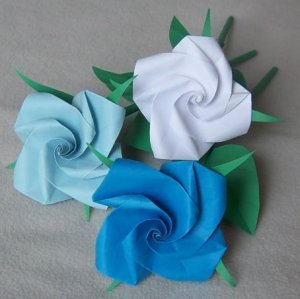 3 Origami Rose Long Stems Paper Fold Craft  Handmade Gift Blue