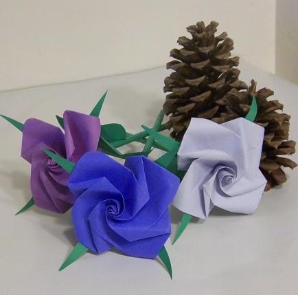 3 Origami Rose Short Stems Paper Folded Craft  Handmade Gift