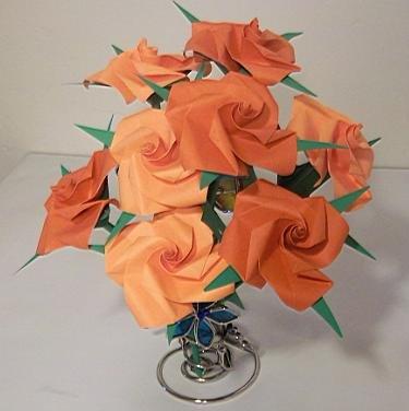 8 Handmade Origami Rose Paper Folded Flower Craft Gift Short Stems