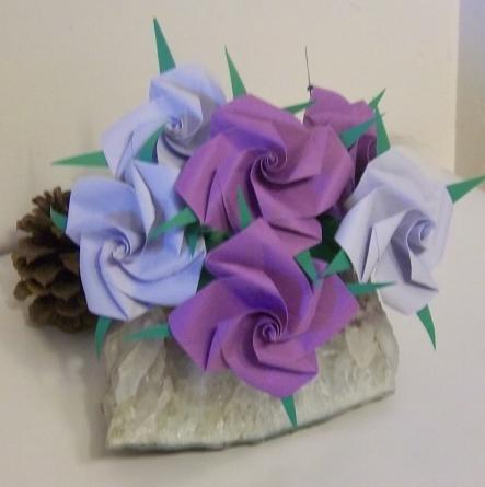 6 Handmade Origami Rose Paper Folded Flower Craft Gift Short stem