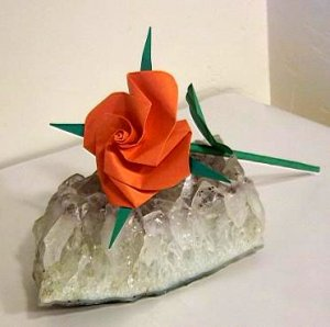 Handmade Origami Rose Orange Paper Fold Craft Gift