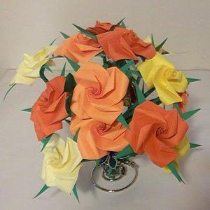 12 Origami Rose Paper Folded Flower Craft Handmade Gift