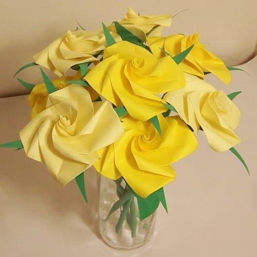 Handmade Origami Rose Paper Folded Flower Craft Gift Yellow Short Stems