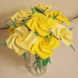 Handmade Origami Rose Paper Folded Flower Craft Gift Yellow Short Stems