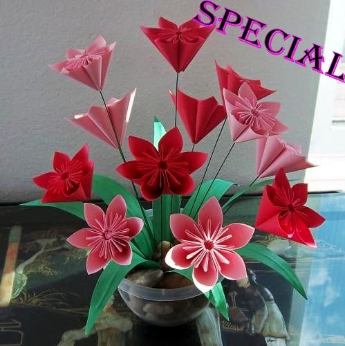 Handmade Origami Kusudama Flower Paper Folded Flower Craft Gift for Special Day or Decor Red