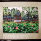 Handmade Embroidery Needlework Traditional Fancywork Wall Art  Home Decor Lotus pond
