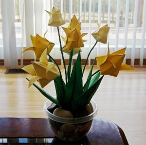 Origami Tulips Paper Folded Flower Craft Handmade Gift for Special Day or Decor Yellow