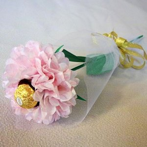 Tissue Paper Rose with Chocolate Handmade Flower Wrapped with Tulle  Valentine's Day Gift Pink