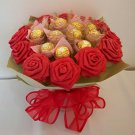 Red Crinkle Paper Rose Chocolate Bouquet 12 Origami Rose Valentine's Day Gift Handmade Flower Crafts