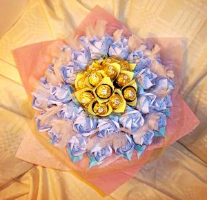 Origami Roses Chocolates Sweet Heart Bouquet Valentine's Day, Anniversary, Birthday, Dating Gift