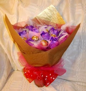 Origami Paper Rose Plume Bouquet Handmade Anniversary Birthday Gift Purple