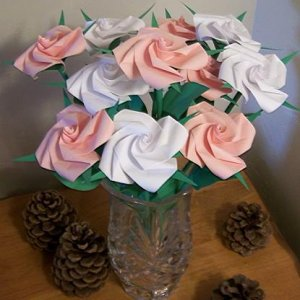 12 Long Stem Handmade Origami Rose Paper Folded Flower Anniversary Birthday Mother&#039;s Day Gift