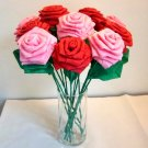 Crinkle Paper Roses You & Me 12 Red + Pink