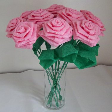 Handmade Origami Crinkle Paper Roses 12 Pink