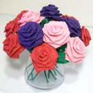 Handmade Origami Crinkle Paper Roses 12 Short Stems Pink + Red + Purple