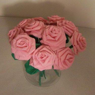 Handmade Origami Crinkle Paper Roses 12 Short Stems Pink