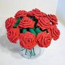 Handmade Origami Crinkle Paper Roses 12 Short Stems Red